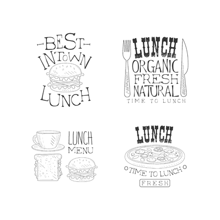 Vector set of hand drawn lunch  templates. Fresh and tasty meal. Monochrome emblems with fast food, cup of coffee, knife and fork