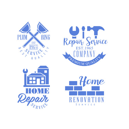 Set of monochrome emblems for repair services. Blue vector with working tools, buildings and brick wall. House renovation company symbol