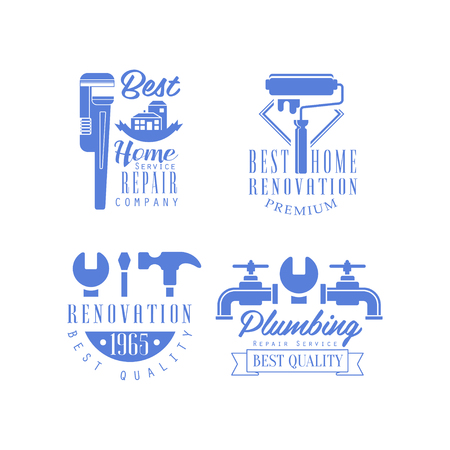 Vector set of  for plumbing and repairing services. Monochrome emblems for home renovation companies