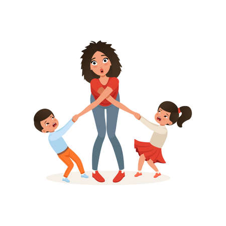 Tired mother with her capricious children, parenting stress, relationship between children and parents concept vector Illustration isolated on a white background. Vettoriali