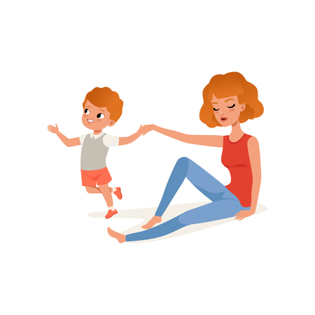 Tired mother and her son who wants to play, parenting stress concept, relationship between children and parents vector Illustration isolated on a white background.