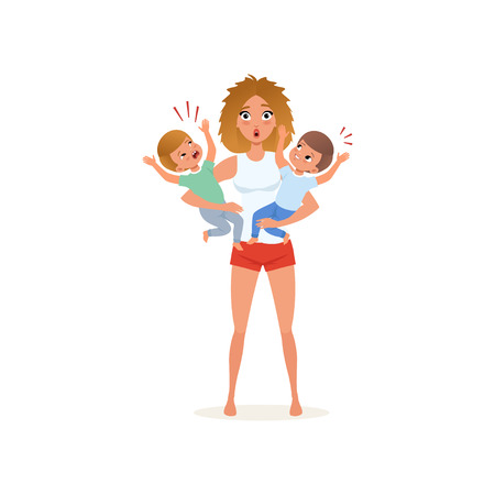 Tired mother and her crying sons, parenting stress concept, relationship between children and parents vector Illustration isolated on a white background.  イラスト・ベクター素材