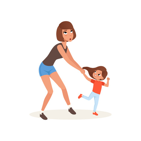 Tired mother and her daughter who wants to play, parenting stress concept, relationship between children and parents vector Illustration isolated on a white background.