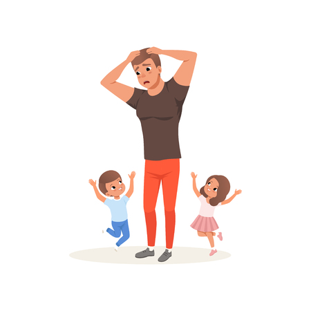 Tired father and his children who want to play, parenting stress concept, relationship between children and parents vector Illustration isolated on a white background.  イラスト・ベクター素材