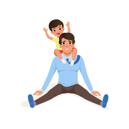 Tired father sitting on the floor, smiling little son sitting on his shoulders, parenting stress concept, relationship between children and parents vector Illustration isolated on a white background.