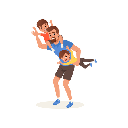 Tired father playing with his sons, parenting stress concept, relationship between children and parents vector Illustration on a white background