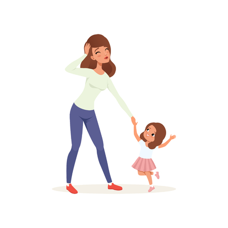 Tired mother holding hand her naughty daughter, parenting stress concept, relationship between children and parents vector Illustration isolated on a white background.