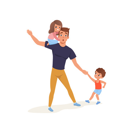 Tired father with his son and daughter who wants to play, parenting stress concept, relationship between children and parents vector Illustration isolated on a white background.