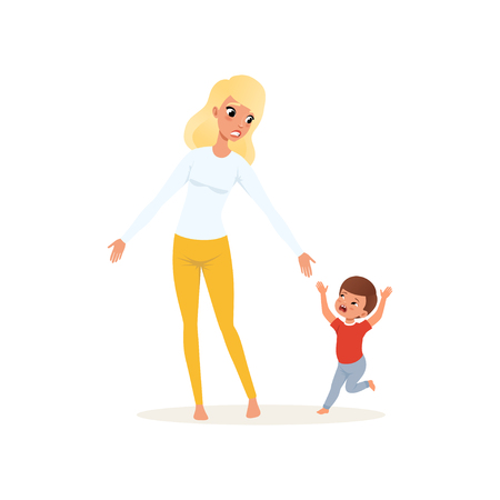 Tired mother and her screaming little son, parenting stress concept, relationship between children and parents vector Illustration isolated on a white background.