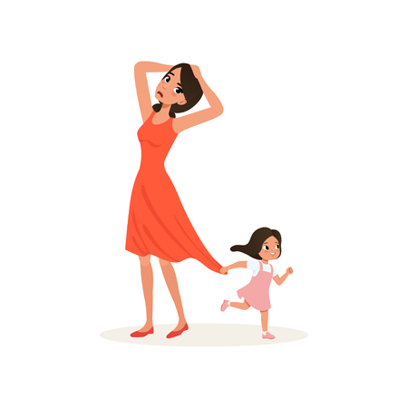Naughty daughter holding her tired mother for the dress, parenting stress concept, relationship between children and parents vector Illustration isolated on a white background. Illustration