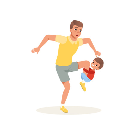 Tired father and his son who wants to play, parenting stress concept, relationship between children and parents vector Illustration isolated on a white background.