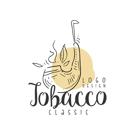 Tobacco classic  design, emblem can be used for smoke shop, gentlemen club and tobacco products hand drawn vector Illustration on a white background Ilustrace