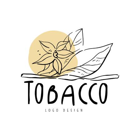 L'elemento di design del tabacco può essere utilizzato per il negozio di fumo, il club per gentiluomini e i prodotti del tabacco disegnati a mano illustrazione vettoriale su sfondo bianco Vettoriali