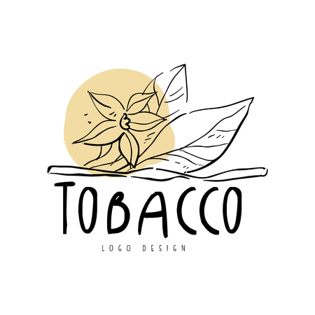 Tobacco  design element can be used for smoke shop, gentlemen club and tobacco products hand drawn vector Illustration on a white background Çizim