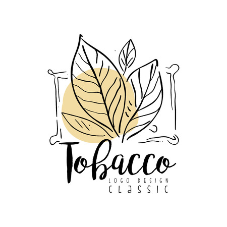 Tobacco classic  design, hand drawn badge for smoke shop, gentlemen club and tobacco products vector Illustration on a white background