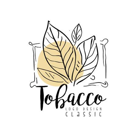 Design classico del tabacco, distintivo disegnato a mano per negozio di fumo, club per gentiluomini e prodotti del tabacco vettoriale illustrazione su sfondo bianco