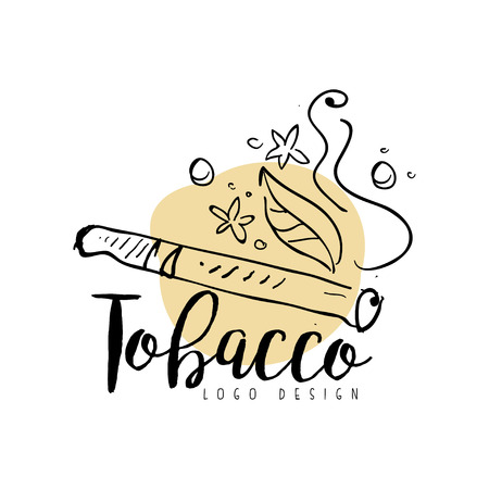 Tobacco   design, emblem for smoke shop, gentlemen club and tobacco products hand drawn vector Illustration on a white background Ilustração