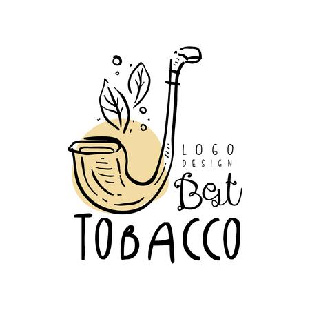 Miglior design del tabacco, emblema può essere utilizzato per negozio di fumo, club per gentiluomini e prodotti del tabacco disegnati a mano vettoriale illustrazione su sfondo bianco Vettoriali