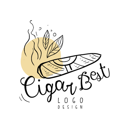 Cigar best  design, emblem can be used for smoke shop, gentlemen club and tobacco products hand drawn vector Illustration Ilustrace