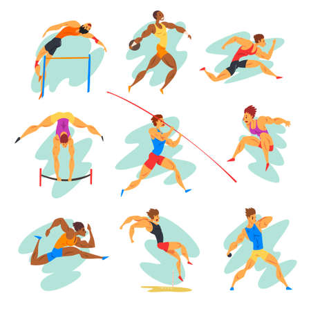 Flat vector set of professional athletes in different actions. Young muscular guys in sportswear. Active people. Vettoriali