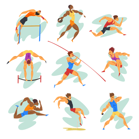 Flat vector set of professional athletes in different actions. Young muscular guys in sportswear. Active people. Çizim
