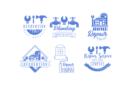 Original blue emblems for repairing companies. Plumbing and home renovation services. Vector design for business card or poster