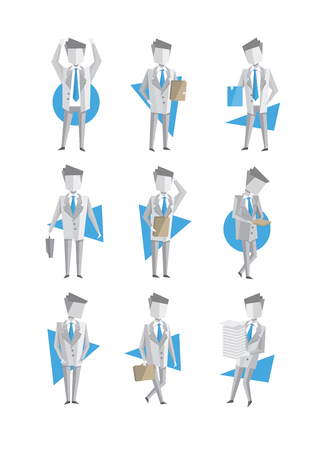 Set of businessman in different actions. Man carrying stack of paper, holding clipboard, walking with briefcase, standing with hands up. Office worker. Flat vector illustrations isolated on white. Ilustração