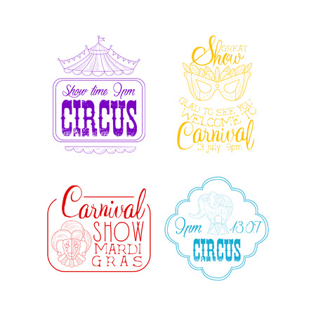 Set of 4 sketch style signs for circus and Mardi Gras carnival. Hand drawn emblems with top of tent, masquerade mask, jester and elephant in different colors. Vector design for promo poster or flyer. Illustration