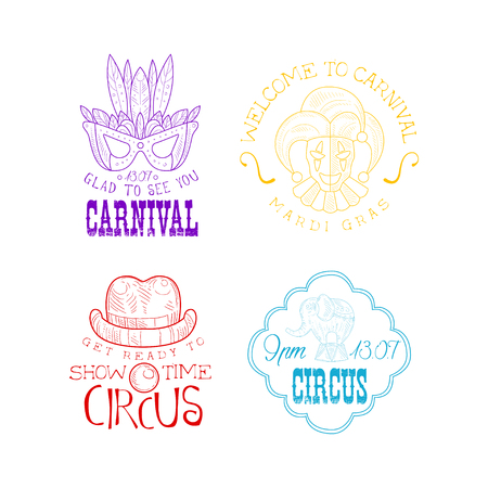 Collection of 4 hand drawn signs for circus and Mardi Gras carnival. Sketch style emblems with masquerade mask, jester, elephant, clowns hat and mouth. Vector design for advertising poster or banner. Illustration