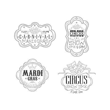 Collection of black and white emblems for circus and Mardi Gras carnival. Original hand drawn   templates with theatrical masks, crown and calligraphic text in vintage frames. Isolated vector signs Illustration