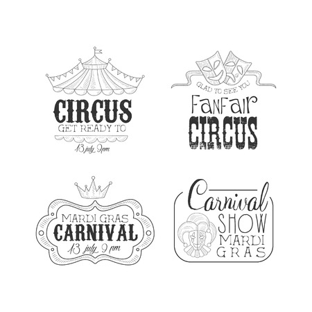 Original black and white signs for circus and Mardi Gras carnival. Sketch style emblems with top of tent, theatrical masks, crown and jester. Isolated vector design for advertising banner or poster.