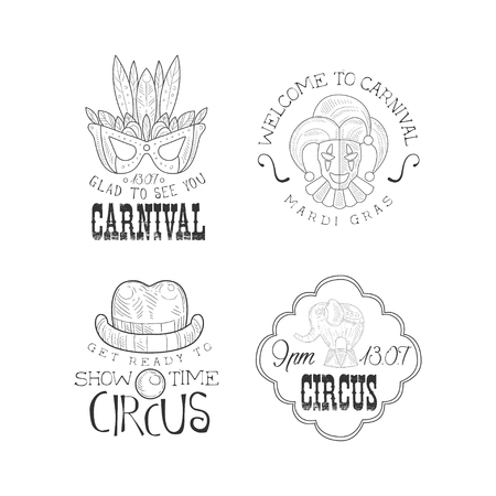 Set of 4 monochrome   templates for circus and Mardi Gras carnival. Hand drawn emblems with masquerade mask, jester, elephant, clowns hat and mouth. Vector design for advertising poster or flyer.