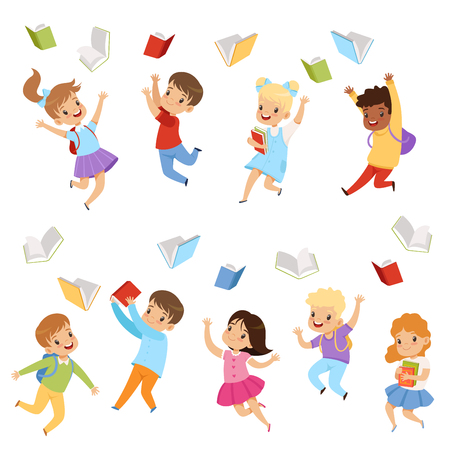 Collection of cute kids throwing books up in the air. Cartoon characters of children with happy faces. Pupils of elementary school. Colorful flat vector illustrations isolated on white background.