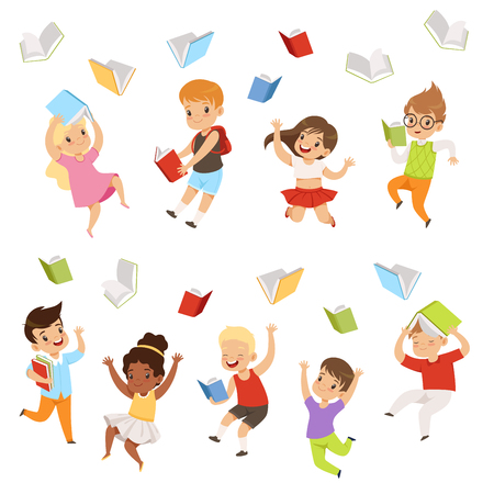 Set of cartoon children characters jumping and throwing books up in the air. Happy pupils of elementary school. Little boys and girls. Colorful flat vector illustrations isolated on white background.