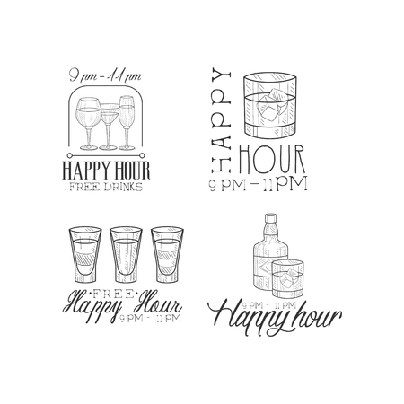 Collection of 4 promotion signs for cocktail bar. Hand drawn black and white  templates with different drinks. Alcoholic beverages. Original vector design for advertising poster, flyer or banner.