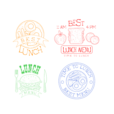 Collection of 4 hand drawn emblems for cafe or restaurant.   fried eggs with sausage and cheese, burger and sandwich in different colors. Vector design for menu, advertising poster or flyer.
