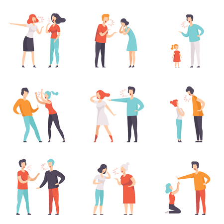 Set of quarreling people. Loud public scandal. Men and women screaming at each other. Mother scolding daughter for bad behavior. Negative emotions and disagreements. Isolated flat vector design. Stock Illustratie