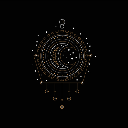 Dream trap, element of traditional American Indian culture vector Illustration isolated on a black background. Archivio Fotografico - 104676699