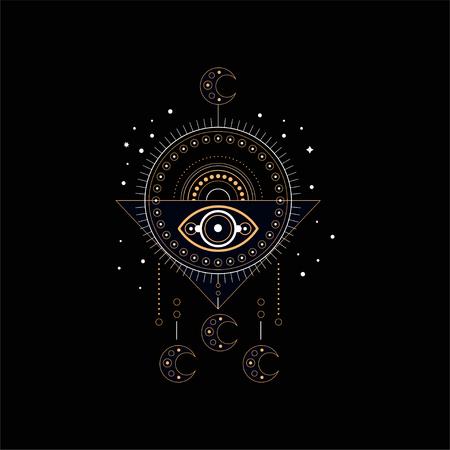 Dream trap, religion, spirituality ethnic symbol vector Illustration isolated on a black background.