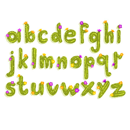 Creative Latin alphabet made of bright green cactus with small blooming flowers. Set of English letters from A to Z. ABC concept. Colorful flat vector font for poster, greeting card or children print.