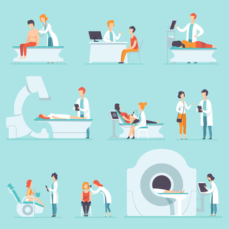 Set of people on medical check-up at hospital. Doctors examining their patients. Professionals at work. Treatment and healthcare theme. Colorful flat vector illustration isolated on blue background.