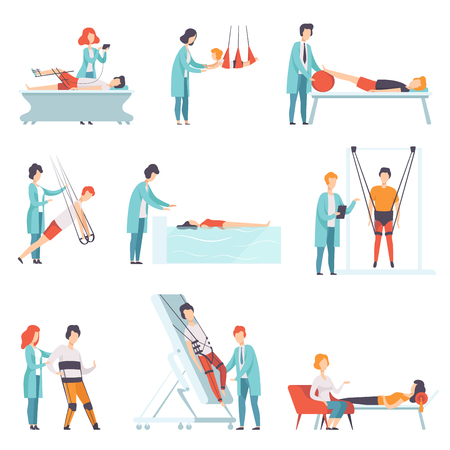 Set of people doing rehabilitation exercises with their doctors. Clinic of physiotherapy. Professional specialists and patients with disabilities. Colorful flat vector illustration isolated on white.