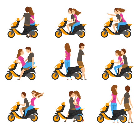 Set with loving couple and scooter. Young girl and guy with different emotions. Cartoon people character riding motorbike. Colorful vector illustrations in flat style isolated on white background.