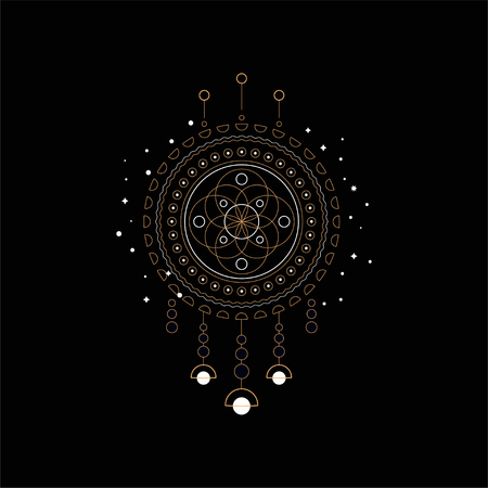 Dream catcher, Indian mascot vector Illustration isolated on a black background. Illustration