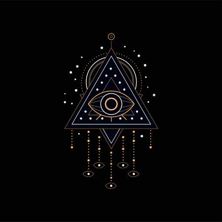 Dream catcher, traditional American Indian dream trap vector Illustration isolated on a black background.  イラスト・ベクター素材