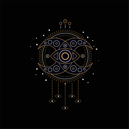 Dream catcher, element of traditional American Indian culture vector Illustration isolated on a black background. Illustration