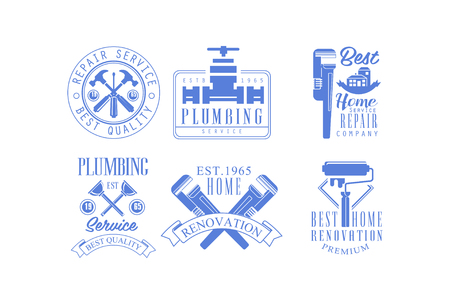 Collection of 6 blue emblems for plumbing and construction services. Original  for home renovation companies. Signs with working tools, building and water tap. Vector design for poster or banner.