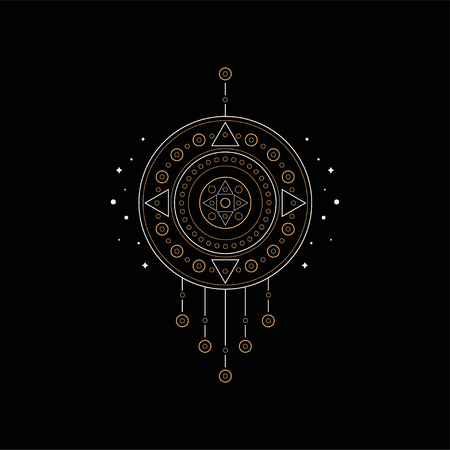 Dream catcher with geometric elements, traditional American Indian mascot vector Illustration isolated on a black background.