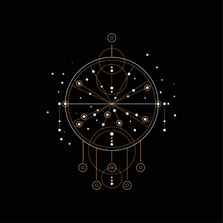 Dream catcher, religion, shamanism, spirituality ethnic symbol vector Illustration isolated on a black background. Vettoriali