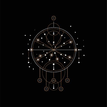 Dream catcher, religion, shamanism, spirituality ethnic symbol vector Illustration isolated on a black background. Illustration